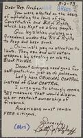Constituent correspondence regarding gun control